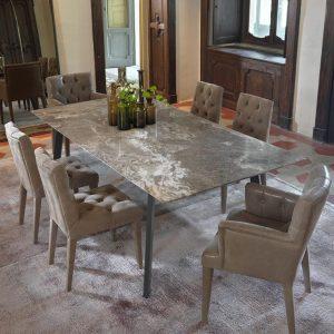 Danim Arana Marron Mermer Yemek Masası