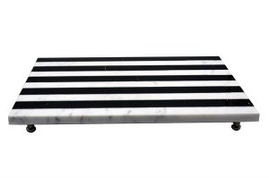 Dianco Fero Siyah Beyaz Mermer Servis Tabağı Sunumluk