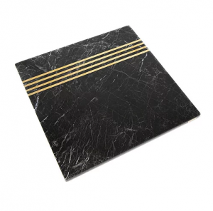 Kare Mermer Servis -Siyah&Altın