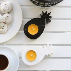 Mermer Ananas Siyah Beyaz 2 Li Takım Mumluk