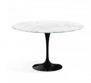Oval Siyah Ayak Beyaz Mermer Masa