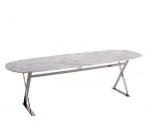 Alşip Metal Ayak Beyaz Mermer Masa