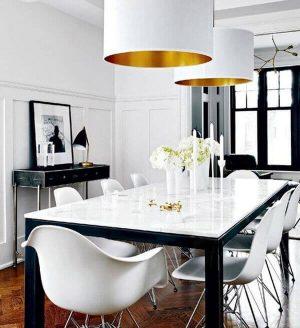 Laftın Siyah Ayak Beyaz Mermer Masa