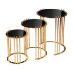 Terdev Home 3'lü Stil Gold Metal Zigon Sehpa