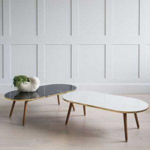 dekoratif oval mermer masa